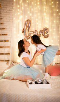 Голубые фатиновые юбки-пачки для мамы и дочки